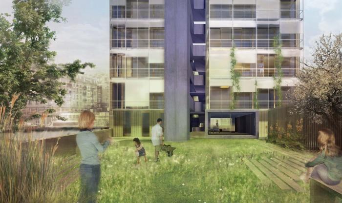 13 Logements + Locaux + Jardins : Diapason vue coeur d'ilôt
