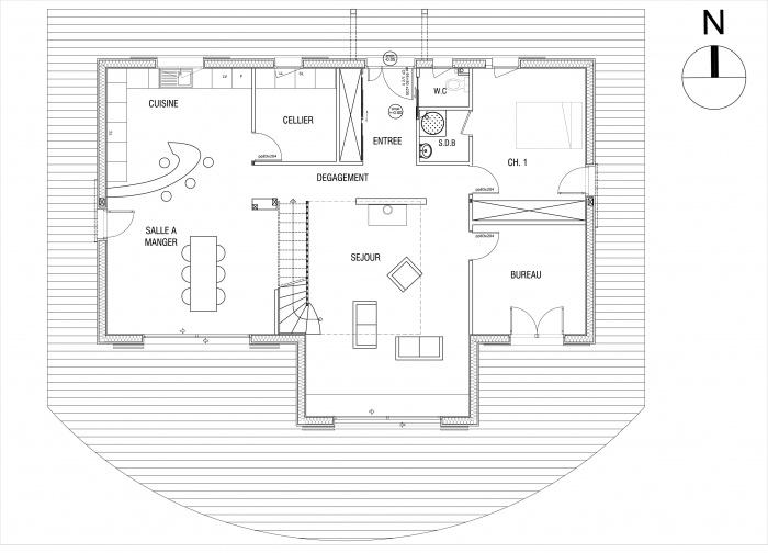 Maison à ossature bois : PC MAISON LEVOUX final PLAN RDC (1)