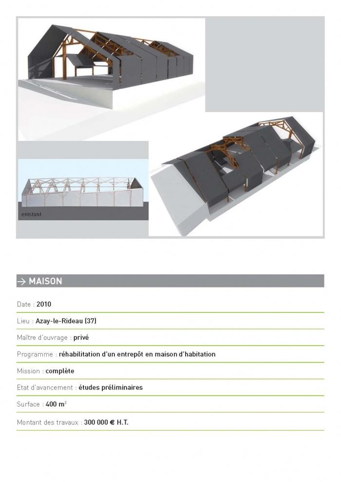 MAISON / Azay-le-Rideau / Réhabilitation d'un entrepôt en maison