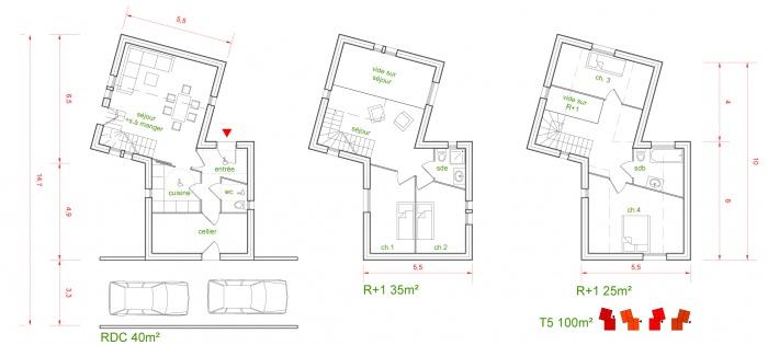 MAISONS PASSIVES : Plan de maison T5