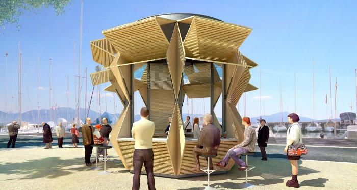 Kiosque vente à emporter 360° : Perspective jour