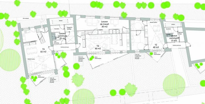 3 logements imbriqués, T2, T3 et T4 - Ecoquartier : Plan RdC