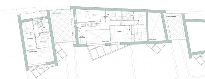 3 logements imbriqués, T2, T3 et T4 - Ecoquartier : Plan 1er étage