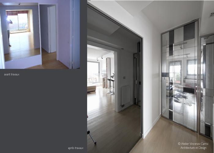 Rénovation - aménagement d'un appartement à Paris 11ème : 01 Atelier Carrisi entree