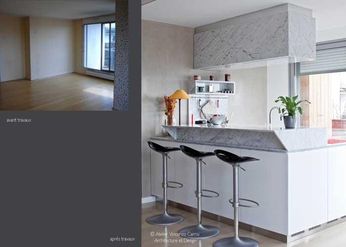 Rénovation - aménagement d'un appartement à Paris 11ème : 03 Atelier Carrisi cuisine
