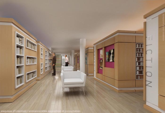 Rénovation - aménagement Médiathèque : Vue de l'espace espositif