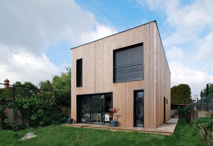 Maison individuelle BBC - ossature bois préfabriquée : EPINAY_ARRIERE_01