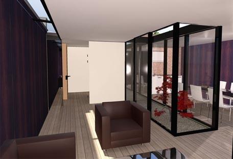 Maison HQE : vue intérieure avec patio