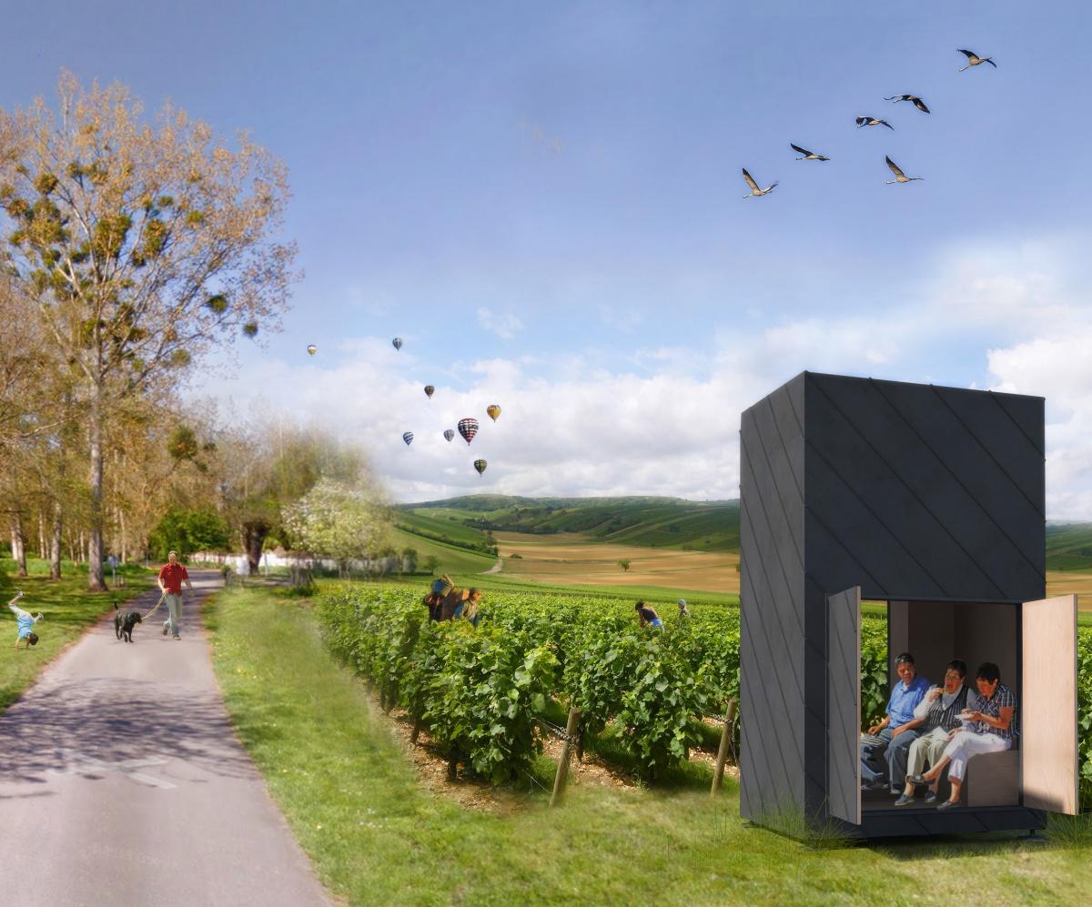 Abri itinérant : Visuel 2 Insertions dans les vignes